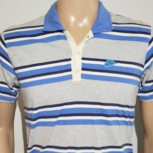 Vintage 90s Nike Polo Shirt Mens Medium Striped